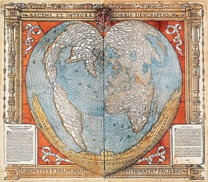 hear shaped map from 1536
