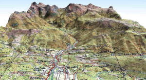 Example of a topographic map draped over a digital elevation model.