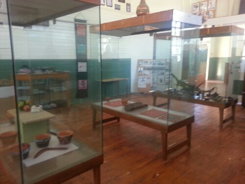 Display cabinets inside the old school at Cumeragunja