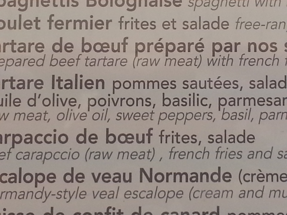 Many 'raw meat' options