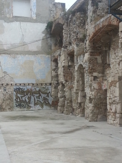 Graffiti on Roman ruins, Split. Photo by Tracey M Benson