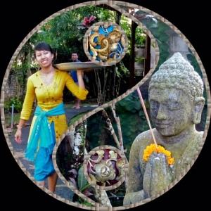 Composite of Yuli bring offerings, Kebun Indah, Ubud, Bali.
