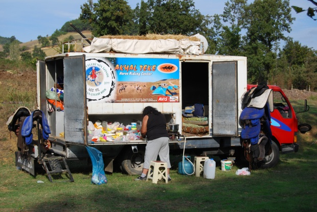 Our supply vehicle and kitchen. Metin prepares lunch.