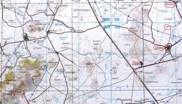 Map Altunhisar to Oymali detailed