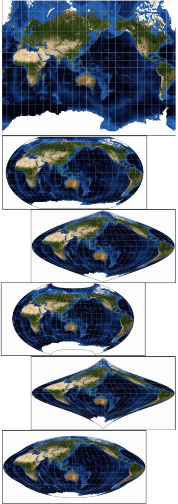 Some examples of map projections